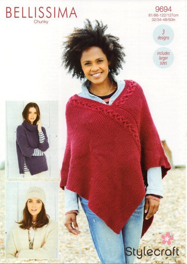 SCP Bellissima Chunky Pattern 9694  Sweater, Poncho and Hat